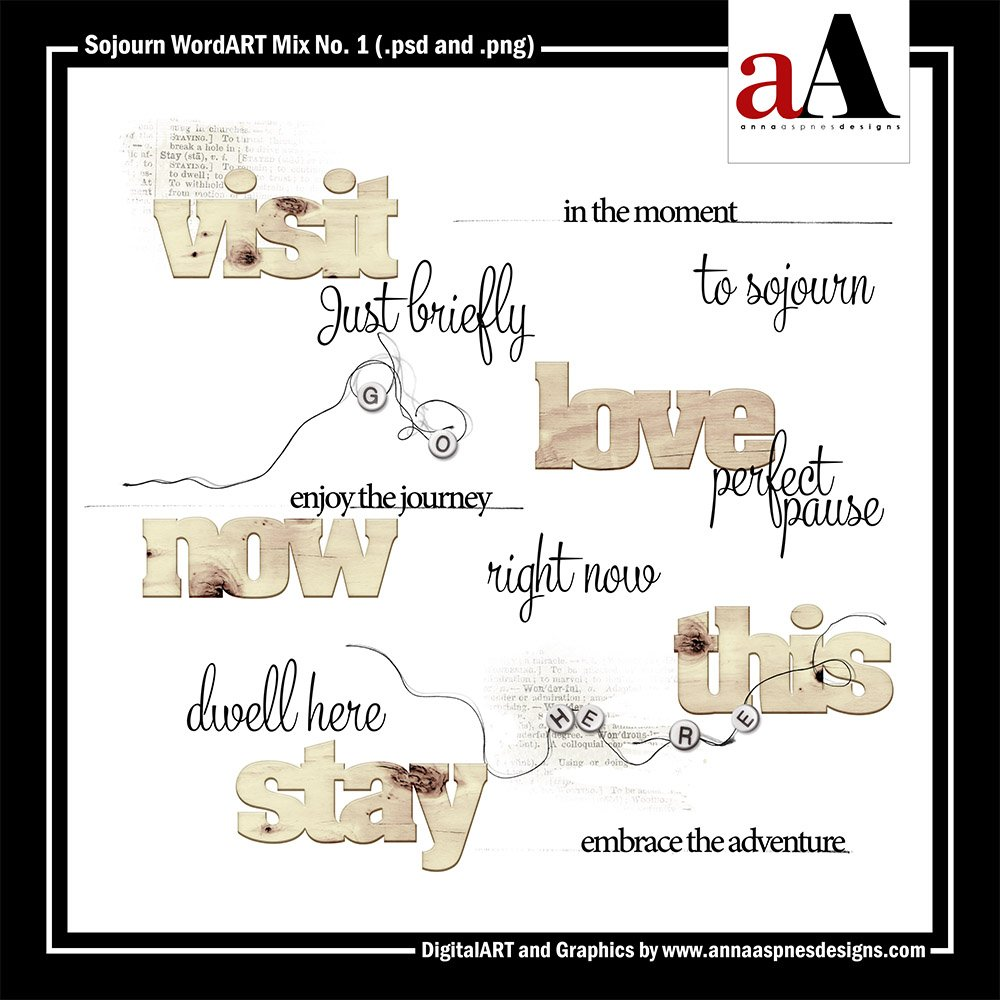 New Artsy Digital Designs Sojourn WordART Mix Sojourn