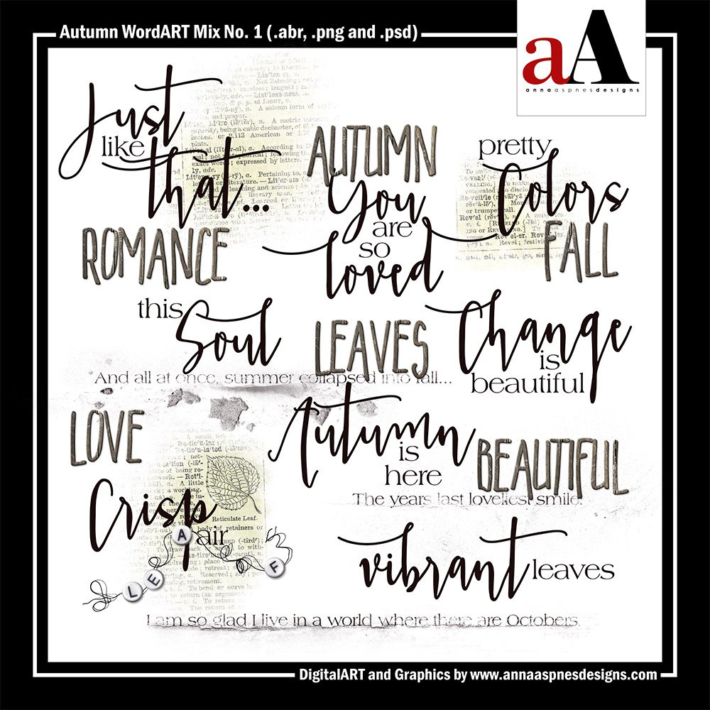 New Artsy Digital Designs Autumn Romance