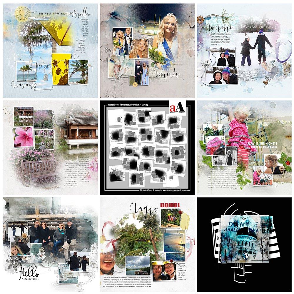 Digital Designs Inspiration WaterColor Template Album