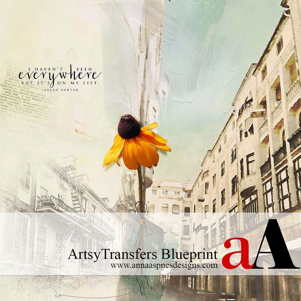 ArtsyTransfers Blueprint Artsy Digital Scrapbooking Artistry