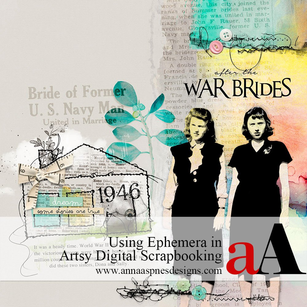 Ephemera in Artsy Digital Scrapbooking